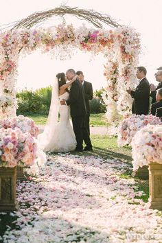 WedLuxe – Pink & Cream California Wedding | Photography by: Victor Sizemore…