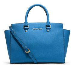 awesome NWT MICHAEL KORS SELMA Large Satchel Leather Bag Handbag Purse Heritage Blue - For Sale View more at http://shipperscentral.com/wp/product/nwt-michael-kors-selma-large-satchel-leather-bag-handbag-purse-heritage-blue-for-sale/