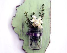 Illinois State Mason Jar Vase Rustic Repurposed by ThePineNuts