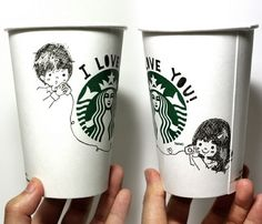 Starbucks Encourages Creativity with White Cup Contest Starbucks Cup Drawing, Starbucks Cup Art, Starbucks Logo, Starbucks Drinks, Starbucks Coffee, Drawing Cup, Coffee Cup Art, White Cups, Bullet Journal Ideas Pages