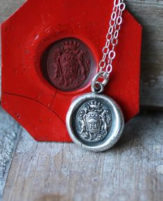 Guardian of family-Lions and oak tree wax seal impression fine silver sterling silver necklace by ALMrozarka on Etsy Silver Charms, Sterling Silver Necklaces, Silver Jewelry, Unique Jewelry, Antique Wax, Pen And Paper, Oak Tree, Wax Seals, Pure Products
