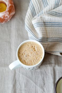 Make this coffee shop favourite at home using healthy ingredients like almond butter, coconut butter, non-dairy milk, chai tea, and strong coffee! It's simple and delicious. The Chai, Pure Maple Syrup, Almond Butter, Coffee Shop, Latte, Coconut, Milk, Strong, Vegan