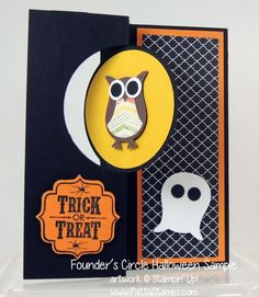 www.PattyStamps.com - Circle Thinlit flip card from Stampin Up with Owl Punch art for Halloween. Sample from Founder's Circle 2013