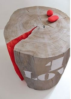 craftily painted tree trunk furniture