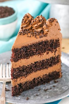 This Chocolate Mousse Cake is a classic! With three layers of moist chocolate ca… This Chocolate Mousse Cake is a classic! With three layers of moist chocolate ca… – Food Cakes, Cupcake Cakes, Cupcakes, Cupcake Ideas, Cake Recipes, Dessert Recipes, Gourmet Desserts, Easy Desserts, Cake Filling Recipes