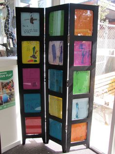 """Picture frame room divider - inspiration for one made out of pegboard and hinges with """"M"""" design"""