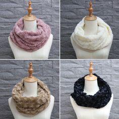 Women-Winter-Warmer-Circle-Cable-Knit-Cowl-Neck-Faux-Fur-Ladies-Scarf-Shawl-Wrap