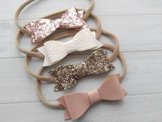 Faux Leather/ Glitter Bow Headbands You Pick Blush White