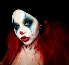 AMERICAN HORROR STORY CULT CLOWN | Follow me on Instagram @voodoobarbiedoll | AHS Clown, AHS Cult, AHS Hotel, Twisty the Clown, Pennywise, Horror looks, Creepy Clown, Circus makeup, Red hair, Blood and gore, Glam and gore, American Horror Story makeup, SFX Makeup, SPFX, Special Effects makeup, Red lips, Scary, Horror, Creepy