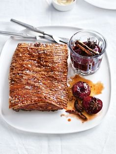 crispy pork belly with spiced plum sauce from donna hay