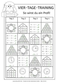 Vier-Tage-Mathe-Training, Zahlenraum bis Arbeitsblatt Mathe bis Dyskalku… Four-day math training, numbers up to worksheet math to 1st Grade Worksheets, 1st Grade Math, Elementary Science, Elementary Schools, Math Games, Math Activities, Teaching Kids, Kids Learning, Math Intervention