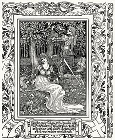 The guileful great enchaunter parts the Redcross Knight from Truth. Walter Crane, from Spenser's faerie queene vol. 1, by Edmund Spenser, London, 1895. (Source: archive.org)