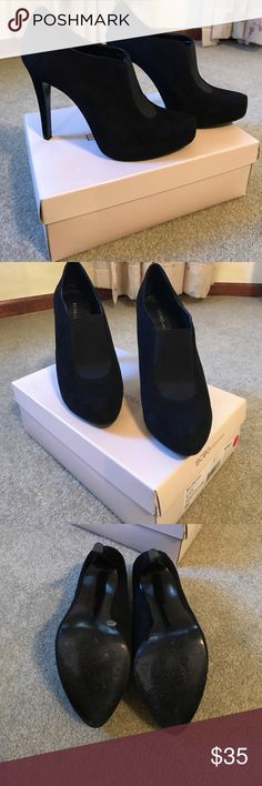 BCBG Black Suede Booties. BCBG black suede booties. True to size. Likely worn. 5 inch heel. Comes with Box! BCBGeneration Shoes Ankle Boots & Booties