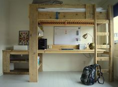 Steigerhouten hoogslaper met bureau en wastafel | Jongenskamer | Tienerkamer 'Ruben' van gebruikt hout | VanStoerHout