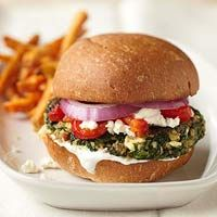 Greek Spinach Veggie Burgers from Better Homes and Gardens.  I made these for Memorial Day for my mom and sisters and we loved them!  I'm a sucker for greek flavors and the ingrediants were wallet friendly, to boot!