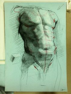 M1:: Planar torso drawing on toned paper. Notice the initial planes on pelvis and chest.