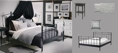 SVELVIK black bed with HEMNES bedside tables and ALINA dark grey bedspread with cushion covers
