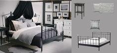 SVELVIK Bett schwarz mit HEMNES Nachttischen und ALINA Überwurf dunkelgrau mit Kissenbezügen