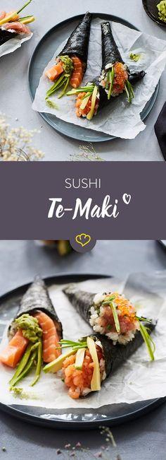 Schnell belegt und im Handumdrehen aufgerollt. Die leckeren Temaki Sushi Tüten füllst du mit deinen Lieblingszutaten. Besonders für