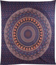 Indian Hippie Bohemian Psychedelic Cotton Mandala Handmade Twin Size Tapestry