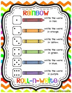 Cute word work activity that can be used to practice writing sight words or spelling words. It's called rainbow roll-n-write and it's a FREEBIE!