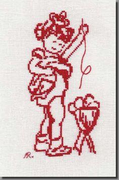 grille point de croix enfance, coffre à jouets, clown, Kokeshi, dunes, tendresse
