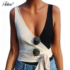>> Click to Buy << Fetoo Casual Black White Patchwork Tank Tops 2017 Women Clothing Sexy V Neck Slim Lace Up T Shirt Sleeveless Bandage Summer Tops #Affiliate