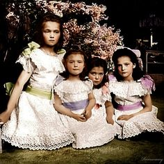 The duchesses as young girls...  (Olga, Tatiana, Maria, Anastasia Romanov, not in that order in the photograph)