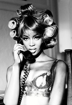 Naomi Campbell, 1991, photo by Ellen Von Unwerth / Ellen Von Unwerth (born 1954) is a German photographer and director, specializing in erotic femininity. She worked as a fashion model for ten years herself before moving behind the camera, and now makes fashion editorial and advertising photographs./ Gaga got inspired by this.