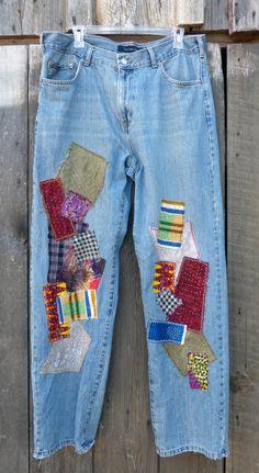 Boho hippie boyfriend style patched designer Jeans by hempatches