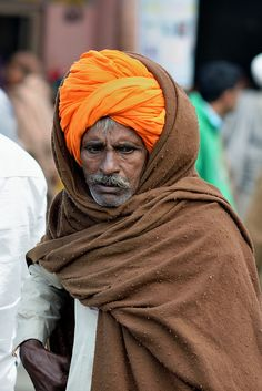 Indian street scene old man with turban.