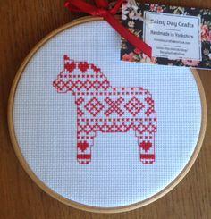 Scandinavian Dala Horse Cross Stitch Embroidery Hoop