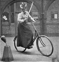 """tristikov: """" petermorwood: """" mindhost: """"I can't say that I fully understand the height of this training dummy - training to defeat what while cycling, rabid dogs, marauding toddlers or what? """" The training dummy's height probably represents a dog. Velo Vintage, Vintage Cycles, Victorian Steampunk, Victorian Life, Cycle Chic, Bicycle Girl, Old Bikes, Belle Epoque, Vintage Photography"""