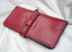 Bi-fold Woman Kožená peňaženka, koža Clutch Wallet, Koža Peňaženka Wallet, Handstiched, ručne šitý