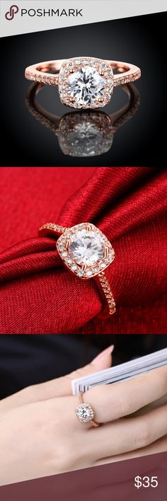 Brilliant 18k rose gold halo ring New in package. Fashion Costume ring.  CZ crystal and 18k gold plated. Boutique item, New. Price firm unless bundled. Jewelry Rings
