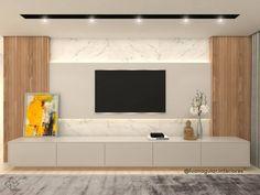 115 Salas de TV Decoradas com Fotos para te Inspirar Tv Feature Wall, Feature Wall Bedroom, Tv Cabinet Design, Tv Wall Design, Living Room Interior, Living Room Decor, Living Rooms, Living Room Tv Cabinet, Salas Home Theater