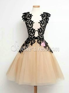 Simple-dress Elegant A-line Black Lace Short Tulle 2015 Homecoming Dresses/Party Dresses  TUHD-70822