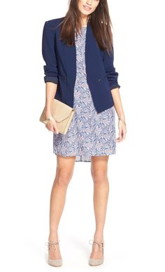 Swooning over this work approved ensemble. An adorable shift dress paired with a blazer and clutch is always a great go-to look.