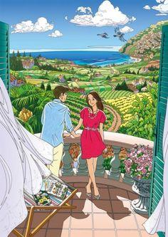 わたせせいぞう Comics Illustration, Japanese Illustration, Love Illustration, Illustrations Posters, Pretty Pictures, Art Pictures, Romantic Paintings, Manga Artist, Love Art