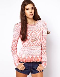 Sweater In Vintage Pattern With Fringing