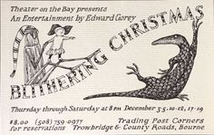 Edward Gorey postcard for production of Blithering Christmas