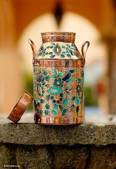 Hand Made Mexican Floral Copper Vase with 22k Gold Leaf - Morning Sunrise | NOVICA