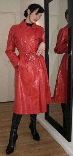 . Red Raincoat, Pvc Coat, Rain Wear, Adults Only, Kitty, Leather Jacket, Satin, Coats, How To Wear
