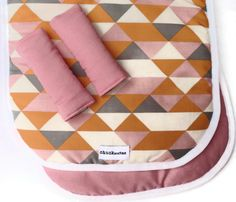 Reversible Pram/Stroller Liner Geometric Triangles Pink. $57.00, via Etsy.