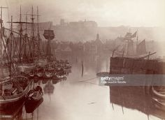 A view of the upper harbour in Whitby, circa 1880.
