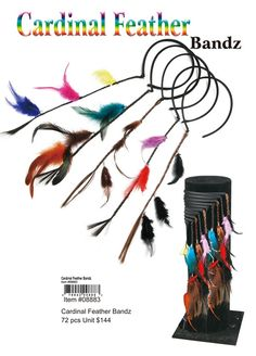 Cardinal Feather Bandz wholesale (08883) Wholesale Hair Accessories, Feathered Hairstyles