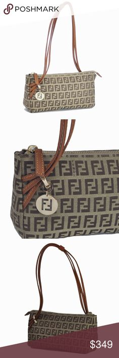 NWT Fendi Petite Beige and Brown Zucchino Handbag -I adore this bag. Small enough to be used as a wallet inside a bag or perfect on it's own! Could also be used as a clutch. Love the way the 3 straps drape through the engraved Fendi piece and drapes to the other side where the Fendi emblem is -Tan leather with matching stitching, beige and brown Zucchino fabric with beige stitching, gold tone hardware and a zipper closure -Roomy inside despite its small size  I purchased this in an Italian…
