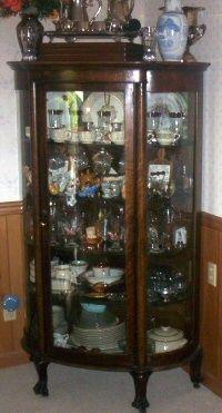 Antique Victorian Keystone Quartered Oak Curved Glass Curio China ...
