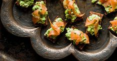 Our mini smoked salmon tartine recipe with pea and mint is a great make-ahead canapé. You can assemble this easy party food idea 30 minutes ahead
