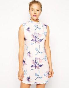 ASOS | ASOS Shift Dress with High Neck in Scuba Floral Print